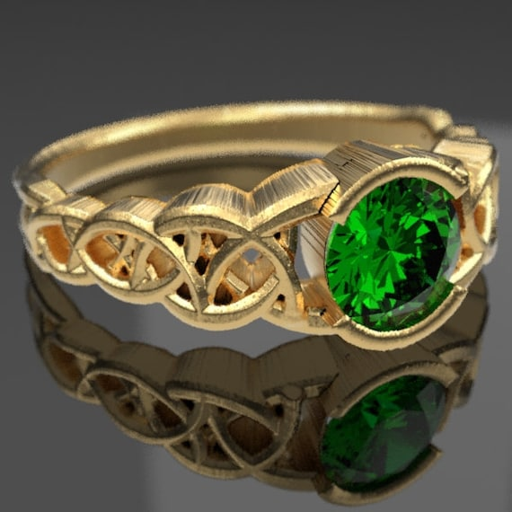 Gold Celtic Engagement Ring With Emerald and Dara Knotwork Design in 10K 14K 18K or Palladium, Made in Your Size Cr-430