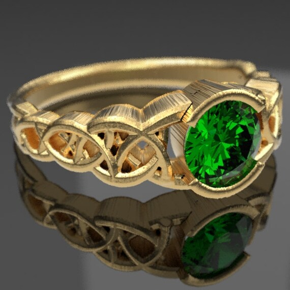 Gold Celtic Engagement Ring With Emerald and Dara Knotwork Design in 10K 14K 18K or Platinum, Made in Your Size Cr-430