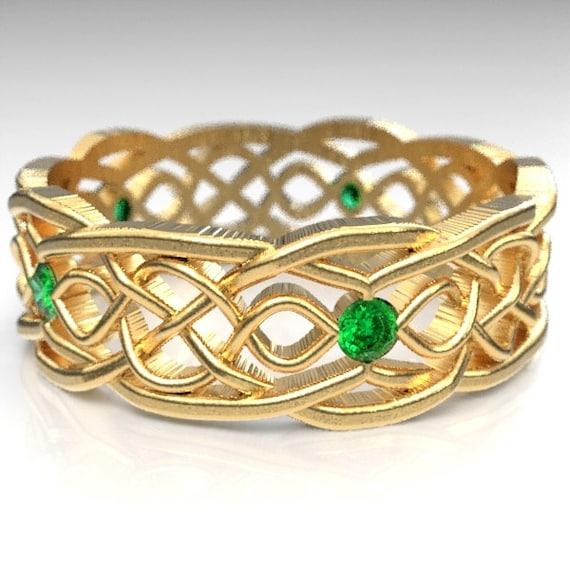 Gold Celtic Wedding Ring With Cut-Through Infinity Symbol Pattern & Emerald Stones in 10K 14K 18K Gold, Palladium or Platinum Cr-1049
