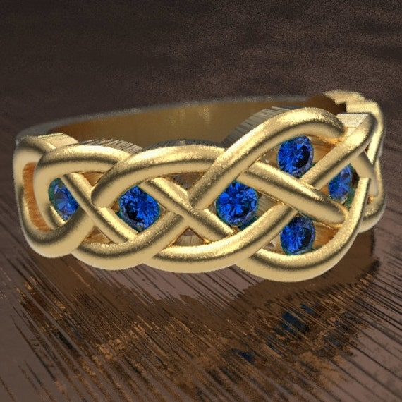 Celtic Sapphire Wedding Ring With Woven Knotwork Design in 10K 14K 18K Gold or Platinum Made in Your Size CR-764