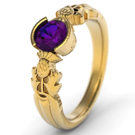 Thistle Engagement Ring, 10K 14K or 18K Gold & Alexandrite, Scottish Solitare, Floral Wedding, Handcrafted Rings, Platinum or Gold 5062