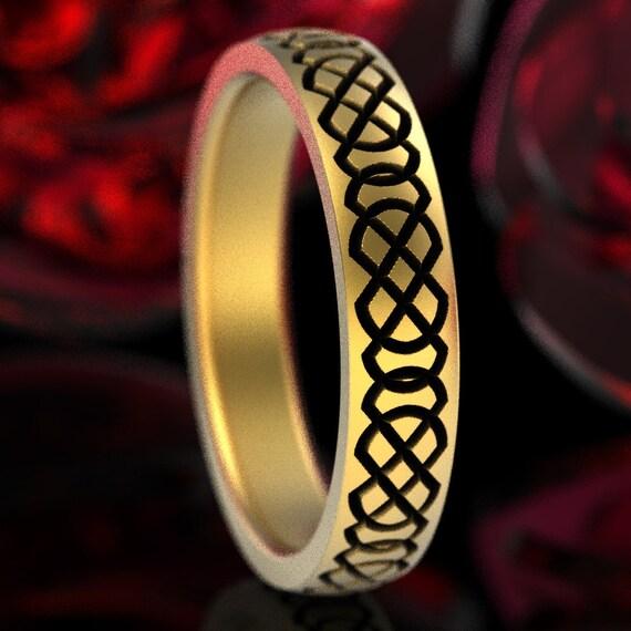 Celtic Wedding Ring With Engraved Woven Knotwork Design in 10K 14K 18K Gold, or Platinum Handmade in Custom Ring Size CR-749