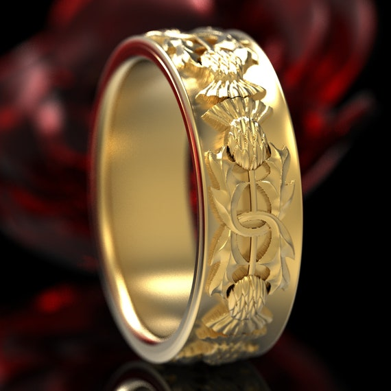 Gold Thistle Ring, 10K 14K or 18K Gold Scottish Ring, Unique Rings for Her, Botanical Jewelry, Handcrafted Rings, Platinum or Gold 5057