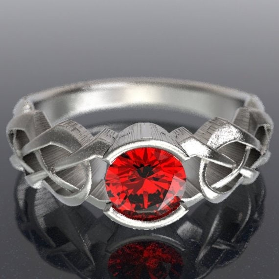 Celtic Ruby Engagement Ring With Dara Knot Design in Sterling, 10K 14K 18K, Palladium or Platinum, Made in Your Size Cr-414