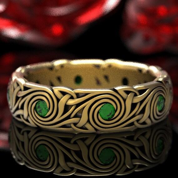 Celtic Trinity Triskele Emerald Wedding Ring, Celtic Spiral Wedding Band, Emerald Celtic Ring, Celtic Gold 10K 14K 18K or Platinum 1289