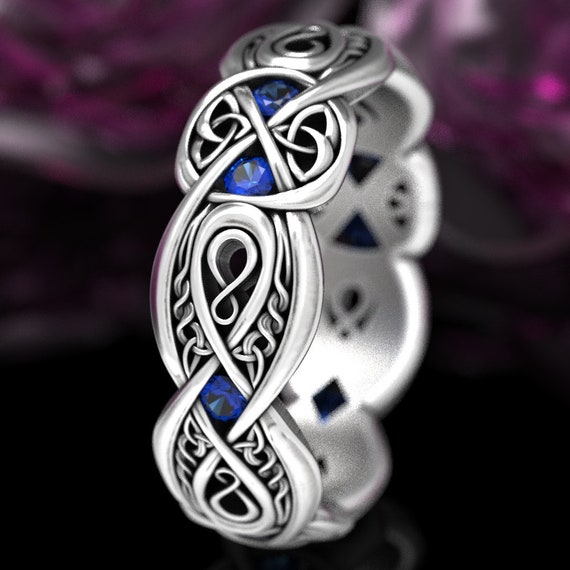 Forever Celtic Sterling Silver Infinity Ring with Sapphires, Eternity Wedding Band, Unique Irish Trinity Love Knot Wedding Ring, 1411