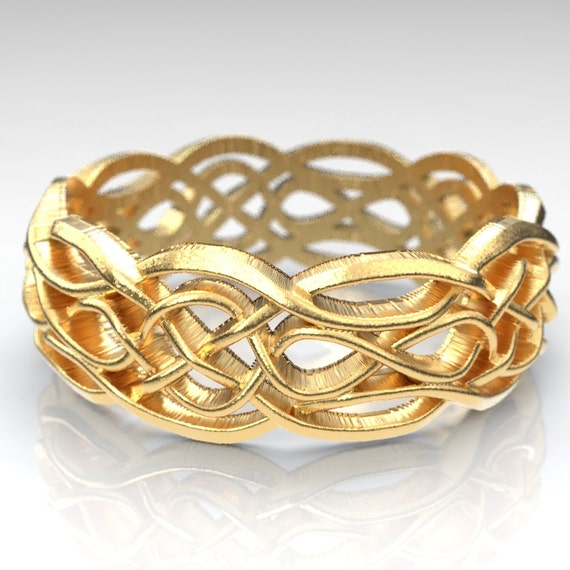 Gold Celtic Wedding Ring With Cut Through Infinity Symbol Etsy