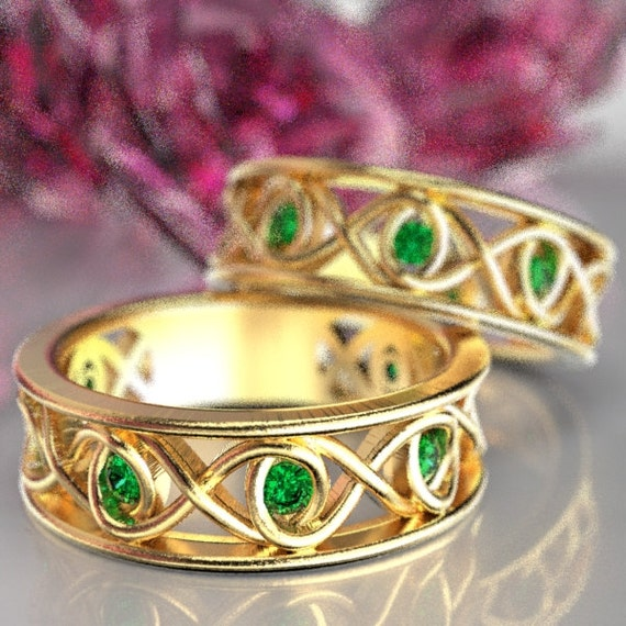 Celtic Emerald Wedding Band Set With Infinity Knot Design in 10K 14K 18K Gold or Platinum Made in Your Size CR-511