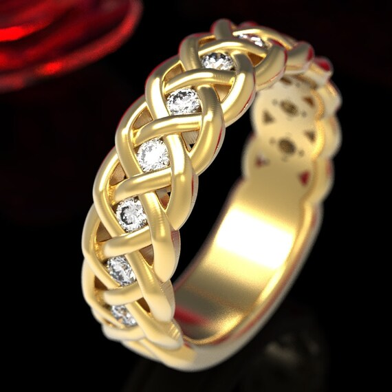 Celtic Wedding Ring with Moissanites in 4 Cord Braided Knot Design in Sterling,10K 14K 18K or Platinum Made in Your Size CR-1008