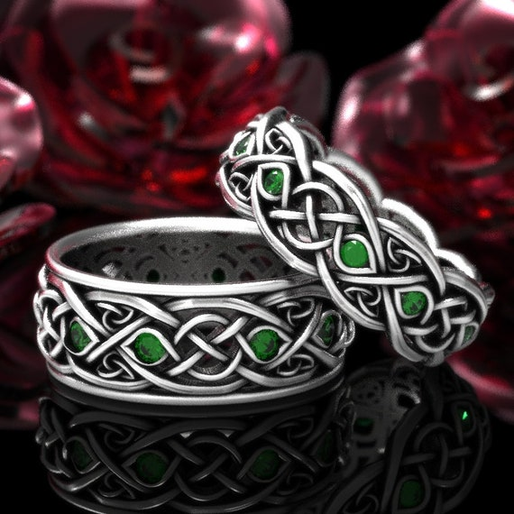 Infinity Wedding Band Set With Emeralds, 925 Sterling Silver Celtic Ring, Celtic Wedding Band, Handcrafted Size CR1096 / CR1052