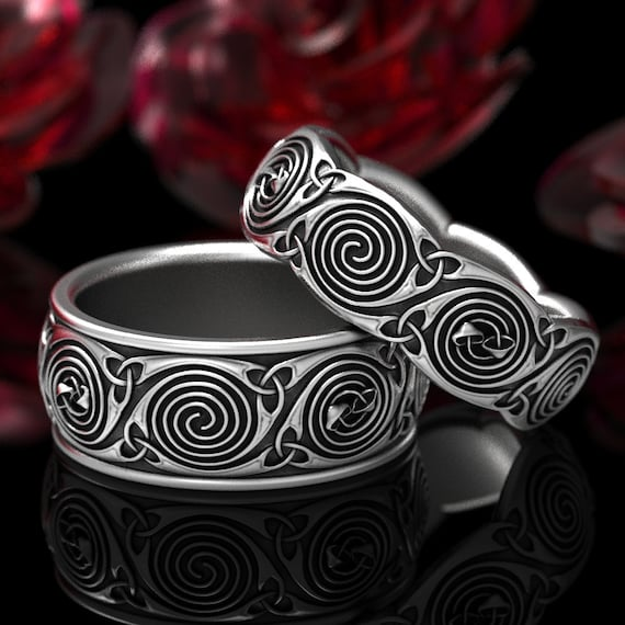 Mushroom Spiral Celtic Wedding Ring Set, Sterling Silver His & Hers Mushroom Wedding Rings, Celtic Spiral Rings, Mushroom Jewelry Size 1285