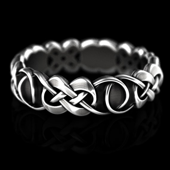 Sterling Celtic Wedding Ring With Infinity Knots, Woven Infinity Knot Ring, Celtic Infinity Wedding Band, Sterling Silver, Custom Made 210