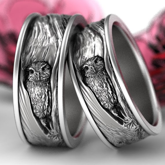 Sterling Silver Owl Wedding Ring Set, Owl Wedding Bands, Tree Bark Wedding Rings, Owl In Tree Wedding Rings 5112