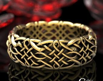 Gold Celtic Wedding Ring, Platinum Wedding Band, Celtic Gold Ring, 10K 14K 18K Gold Modern Wedding Band, Men's Gold Wedding Band, 1435