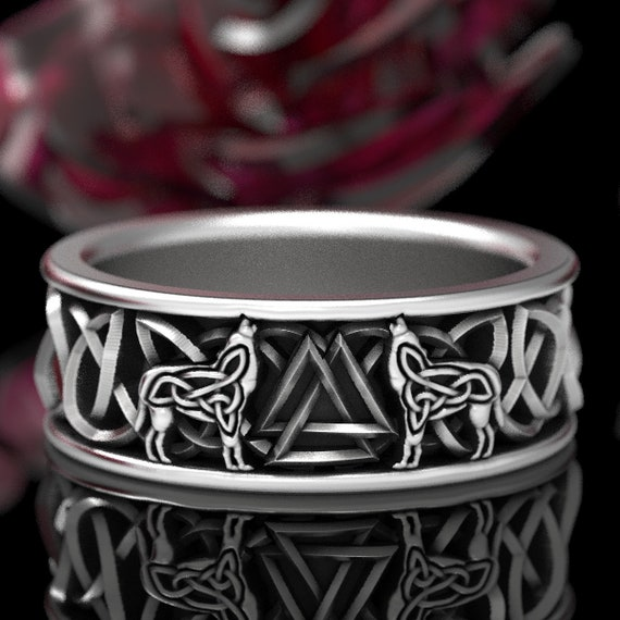 RUSH! RESERVED FOR Florence Sterling Silver Celtic Wolf Ring with Valknut, Wolf Wedding Band, Celtic Animal Ring, Custom Ring Design 1170