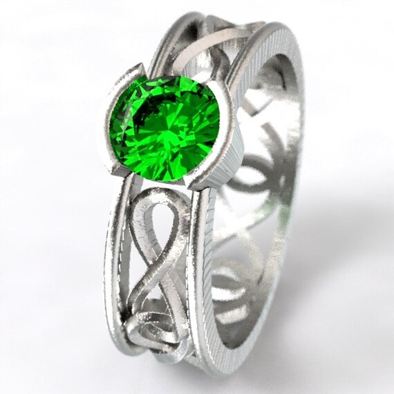 Celtic Emerald Ring With Infinity Symbol Design in Sterling Silver, 10K 14K 18K Gold or Platinum  Made in Your Size CR-1027