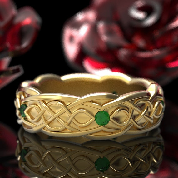 Gold Celtic Wedding Ring With Infinity Symbol Pattern & Emerald Stones in 10K 14K 18K or Platinum, Made in Your Size Cr-1050