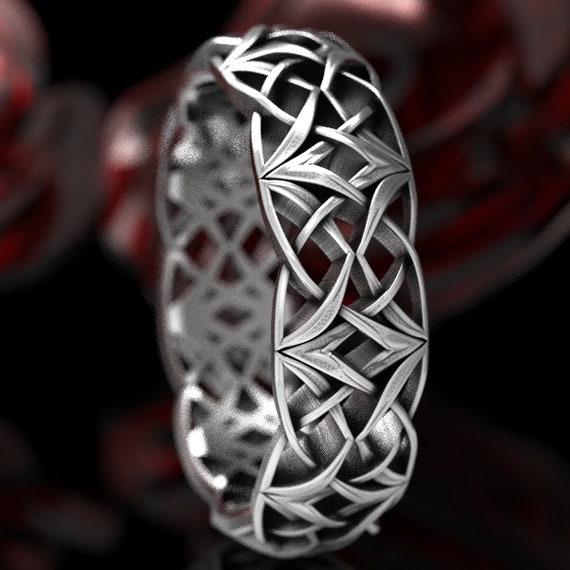 Celtic Silver Love Knot Ring, Woven Celtic Wedding Ring, Viking Celtic Wedding Band, Norse Knot Sterling Silver Ring Custom Made 1299
