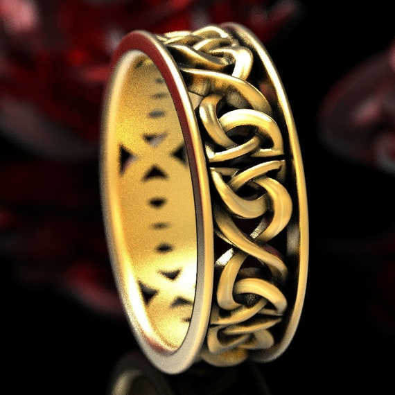 Celtic Knot Ring, Gold Wedding Band With Celtic Woven Dara Knotwork Design in 10K 14K 18K Gold or Platinum, Made in Your Size CR-5008