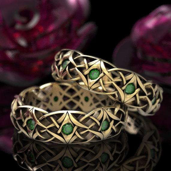 Celtic Emerald Wedding Set, Celtic Eternity Band Set with Emeralds, Bespoke Celtic Knot Rings, Celtic 10K, 14K, 18K Gold or Platinum 1300