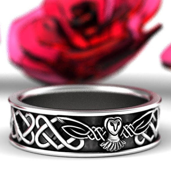 Sterling Silver Owl Wedding Band, Celtic Owl Ring, Heart Knot Wedding Band, Owl Jewelry, Celtic Knot Ring, Custom Size 1220
