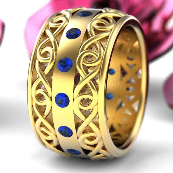 Gold Celtic Wedding Ring With Blue Sapphire and Cut-Through Infinity Symbol Design in 10K 14K 18K or Platinum, Made in Your Size Cr-510