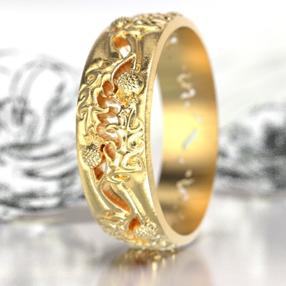 Thistle Gold Wedding Band, 10K 14K or 18K Gold Scottish Ring, Unique Ring, Botanical Jewelry, Handcrafted Rings, Platinum or Gold Ring 5064