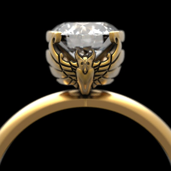 Gold Engagement Ring, 1 Carat Moissanite Owl Solitaire Ring, Womens Owl Ring, Gold Owl Ring made in 10K 14K 18K or Platinum with Moissanite