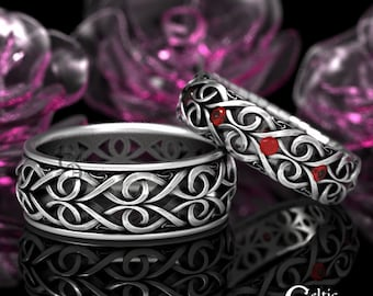 His Her Celtic Wedding Ring with Rubies, Heart Wedding Band Set, Infinity Symbol Ring, Modern Silver Ring, Ruby Wedding Bands, 1421 + 1422