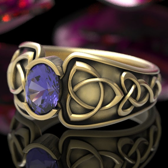 Celtic Tanzanite Ring With Trinity Knot Band Ring in Sterling Silver, 10K 14K or 18K Gold or Platinum, Made in Your Size CR-17d
