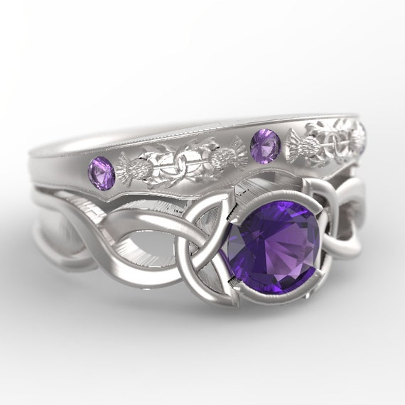 Celtic Amethyst Ring With Trinity Knot Design in 10K Gold, Made in Your Size CR-405b / CR-5062m
