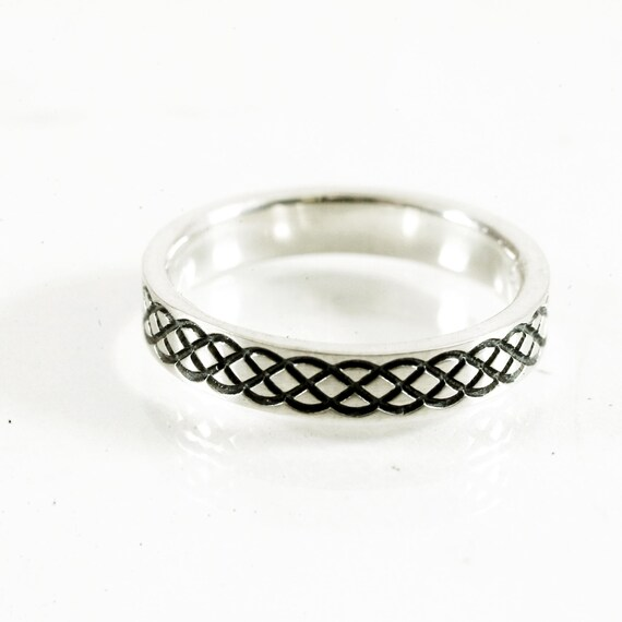 Celtic Ring With Braided Celtic Knot Ring Design in Sterling Silver, Made in Your Size CR-726
