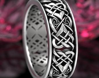 Sterling Celtic Knot Wedding Band, Mens Celtic Heart Knot Wedding Ring, Celtic Infinity Knot Wedding Ring, Infinity Heart Knot Wedding 1362