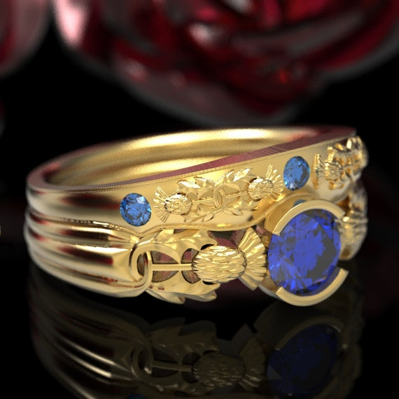 Thistle Engagement Ring Set, 10K 14K or 18K Gold With Sapphire, Floral Wedding Solitaire, Handcrafted Rings, Platinum Engagment Ring, 5062