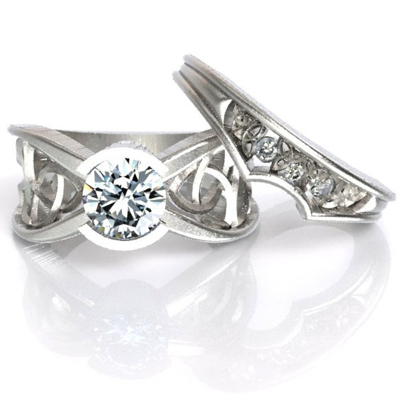 Celtic Moissanite Engagement Ring With Matching Trinity Knot Band in Sterling Silver, Made in Your Size CR-1026
