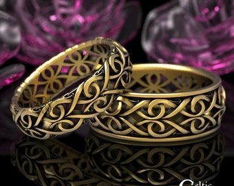 His Hers Gold Celtic Wedding Rings, Platinum Wedding Set, Celtic Gold Ring, 10K 14K 18K Gold Wedding Band, Infinity Wedding Band 1422 + 1420