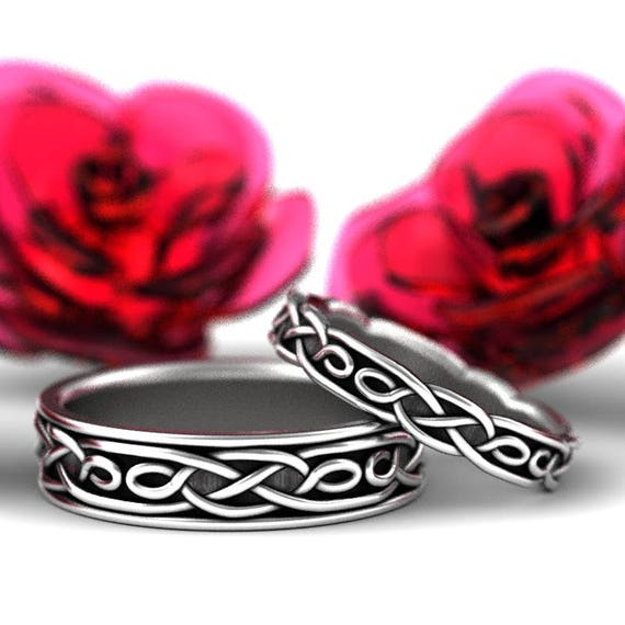Celtic Wedding Ring Set With Infinity Symbol Pattern in Sterling Silver Custom Made 1210 1211
