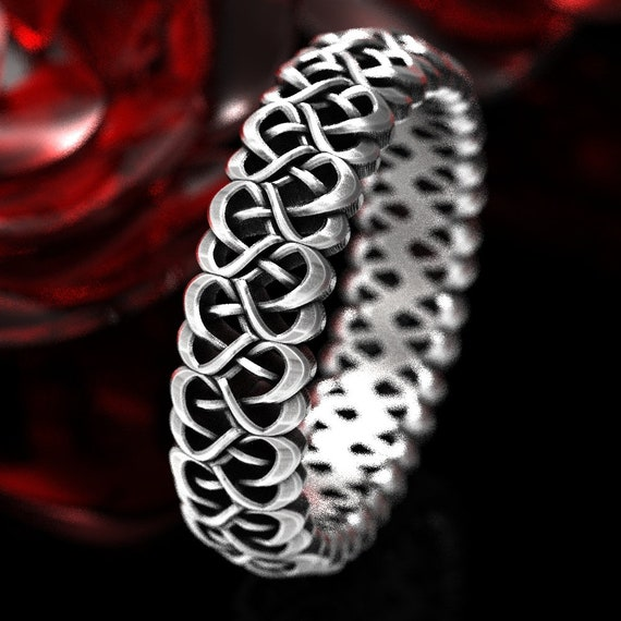 Womens Heart Ring, Celtic Heart Wedding Band, Mothers Ring with Hearts, Celtic Love Knot Ring in Sterling Silver, Made in Your Size CR-1334