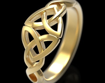 Gold Trinity Heart Ring, Signet Heart Knot, 10K 14K 18K Rose Gold Platinum, Celtic Heart Ring, Irish Wedding Band, Gold Heart Knotwork, 1406