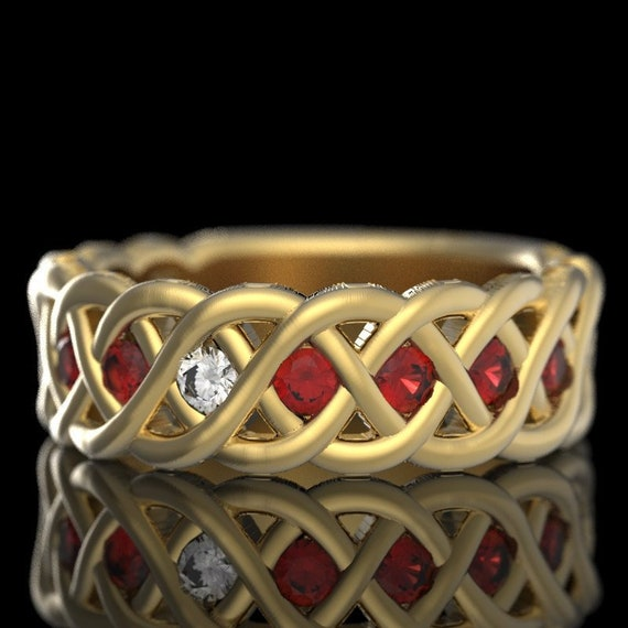 RESERVED FOR Jasmine 6 Payments for Celtic Wedding Ring with Ruby and Diamond in 4 Cord Braided Knot in 18K Gold Made in Your Size CR-1008