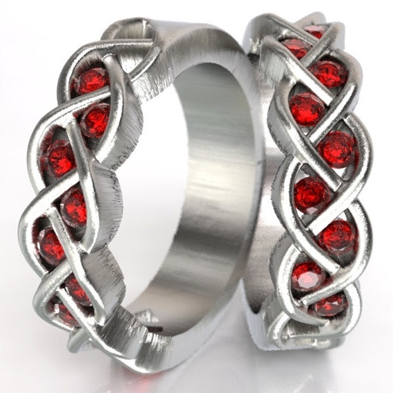 Celtic Wedding Ring Set Ruby Stone With Braided Knot Design in Sterling Silver, Made in Your Size CR-1005