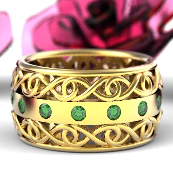 Gold Celtic Wedding Ring With Emerald and Cut-Through Infinity Symbol Design in 10K 14K 18K or Platinum, Made in Your Size Cr-510