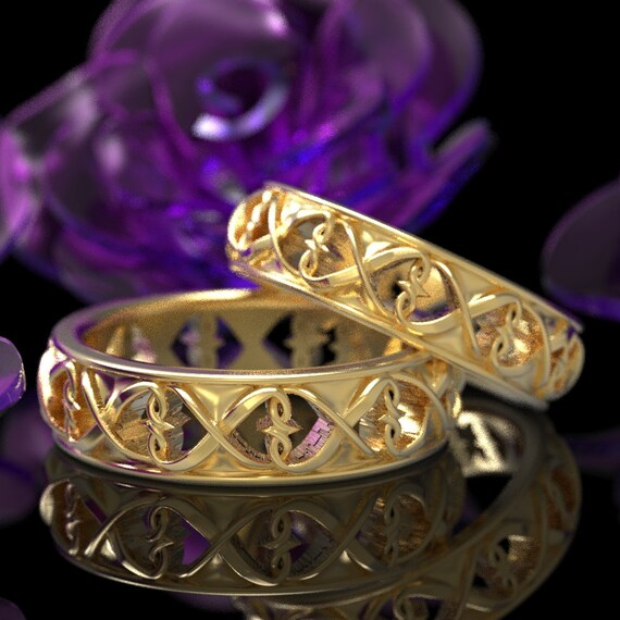 Intertwined Hearts Pattern Set of 2 Rings, Unique Heart Symbol, Celtic Wedding Ring in 10K 14K 18K Gold or Platinum, Size CR-1272