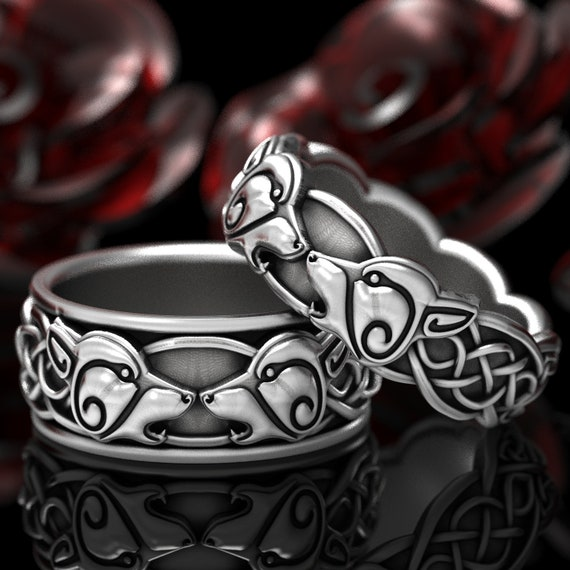 Wolf Wedding Ring Set, Celtic Wolf Ring Set, Mens Wedding Band, Matching Wolf Wedding Bands, Norse Wolf Ring Set, Celtic Knot Ring 1307 1308