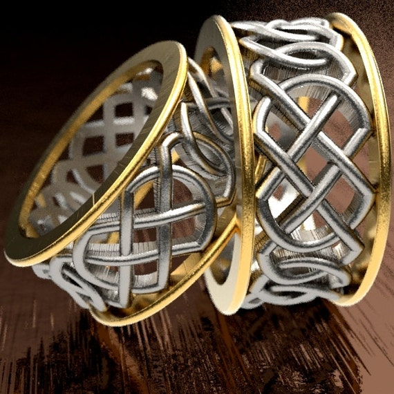 Celtic 2-Tone Wedding Ring With Murphy Infinity Knotwork Design in Silver, 10K 14K 18K Gold, Matching Wedding Rings Made in Your Size CR-268