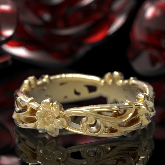 Art Nouveau Floral Wedding Design Ring Gold Design in 10K 14K 18K Gold or Platinum, Made in Your Size Cr-5018