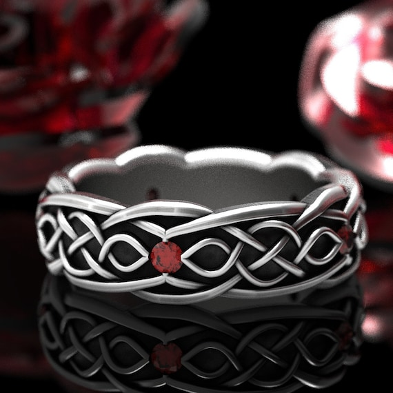 Celtic Wedding Ring With Infinity Symbol Pattern With Ruby Stones in Sterling Silver, Made in Your Size CR-1050