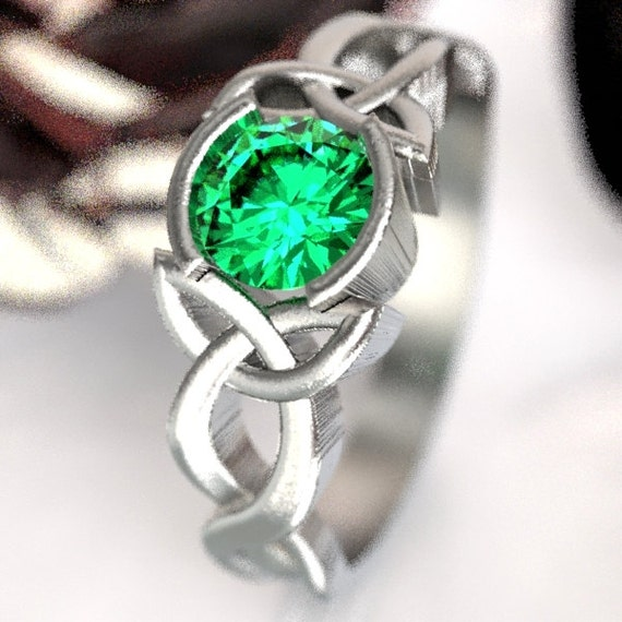 Emerald Engagement Ring, Sterling Silver Celtic Knot Ring,  Celtic Eternity Ring, Unique Engagement Ring, Handcrafted in Your Size CR-405b
