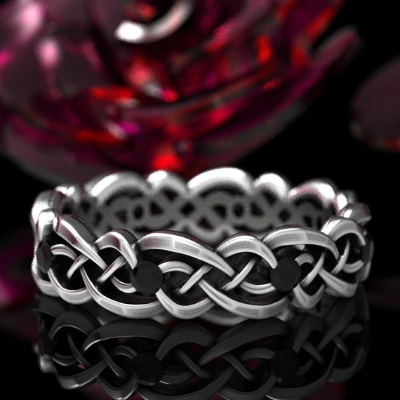 Black Spinel Eternity Ring, Celtic Infinity Band, Sterling Silver Wedding Band, Budget Wedding Ring, Woven Wedding Ring, Custom Size CR-1044