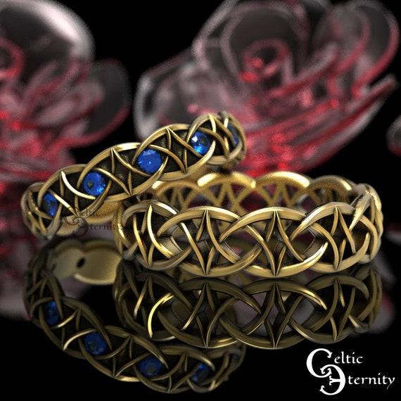 Sapphire & Gold Celtic Wedding Band Set, 10K 14K 18K Gold Platinum Ring Set, His Hers Modern Gold Ring Set, Gold Infinity Band, 99 + 1036